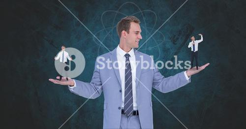 Digital composite image of businessman holding candidates