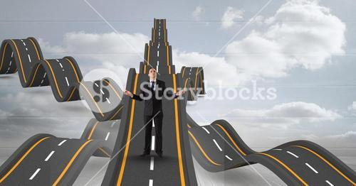 Digital composite image of confused businessman standing on wavy roads