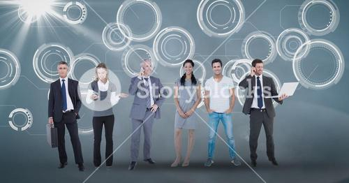 Digital composite image of business people on abstract  background