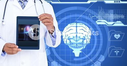 Midsection of doctor showing human brain on tablet PC against screen