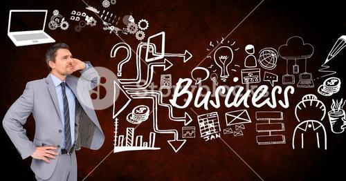 Thoughtful businessman with icons surrounding business text