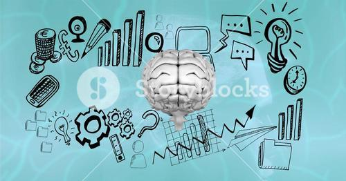 Business icons surrounding brain