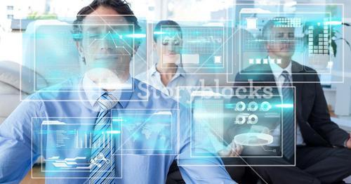 Digital composite image of screens with business people meditating in background