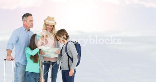 Digitally generated image of family looking at map while standing against sky