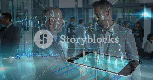 Multiple image of employees on smart phone with businessmen discussing in office