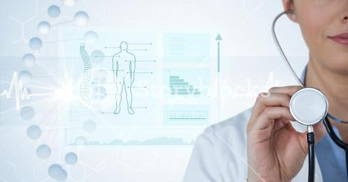 Digital composite image of female doctor with stethoscope by diagrams and graphs in background