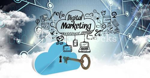 Digital composite image of key and cloud with digital marketing options