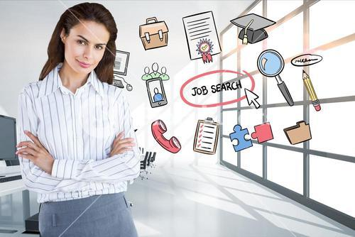 Businesswoman standing arms crossed by icons surrounding job search text