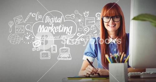 Businesswoman smiling with icons surrounding Digital marketing text in cloud