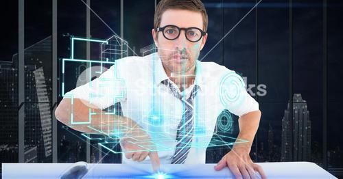 Digitally generated image of businessman touchng futuristic desk while lookin at project