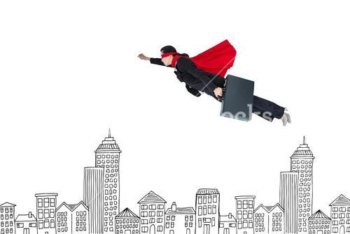 Digital composite image of businesswoman in super hero cape flying over buildings