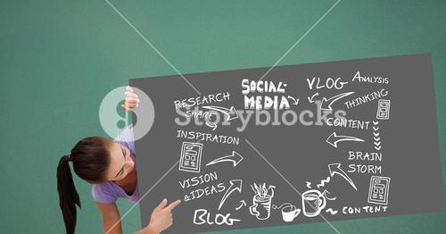 Woman pointing at bill board with icons and social media text