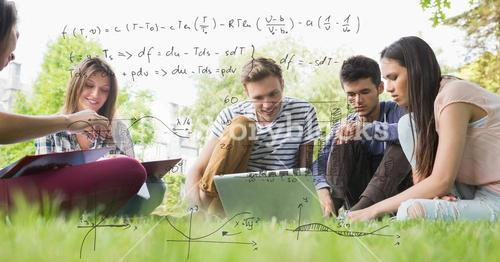 Digitally generated image of formulas with college students studying while sitting on field in backg