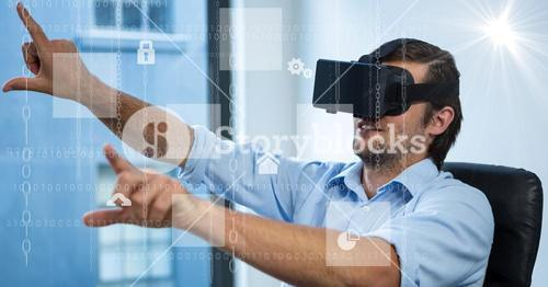 Digitally generated image of various icons with businessman using VR glasses in office