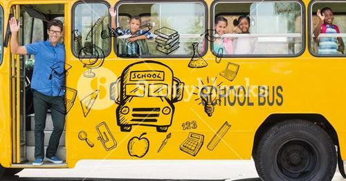 Digitally generated image of various icons with teacher and students waving hands in school bus