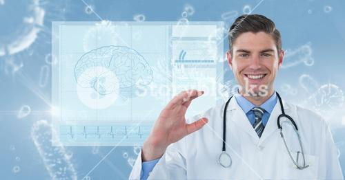 Digitally generated image of male doctor with various organism and brain vector in background