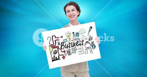 Portrait of businesswoman holding billboard with business text and various icons against blue backgr
