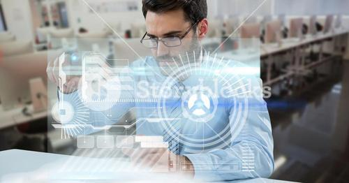 Digitally generated image of businessman tiouching futuristic screen while working in office