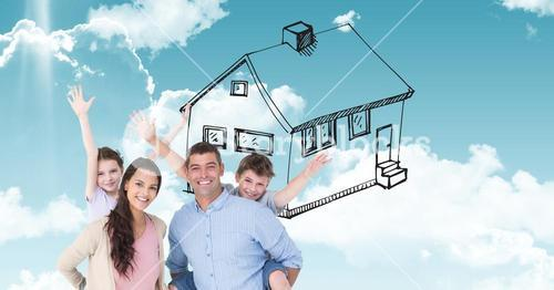 Digitally generated image of happy family with house drawn in  sky