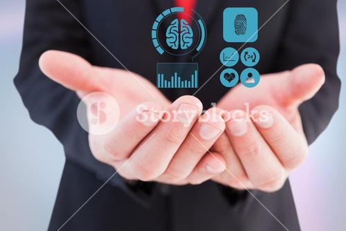 Digitally generated image of various icons on hand of businessman