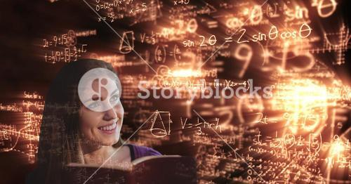 Digitally generated image of smiling college student looking at glowing math equations