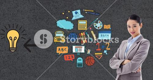 Digitally generated image of businesswoman standing by various icons on gray background