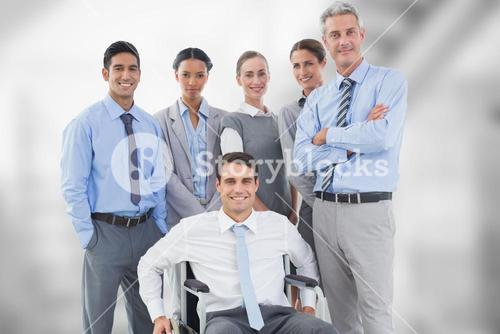 Portrait of confident business people against blurred background