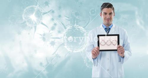 Digitally generated image of male doctor showing DNA structure in tablet computer against organism g