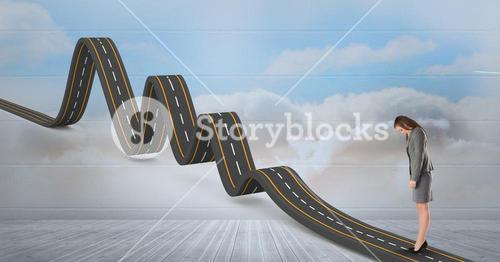 Digitally generated image of businesswoman standing on wavy road in sky