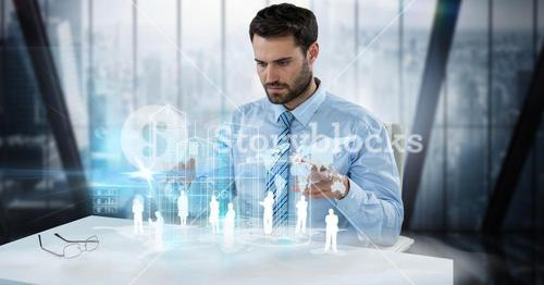 Digitally generated image of businessman examining employees and world map at desk in office