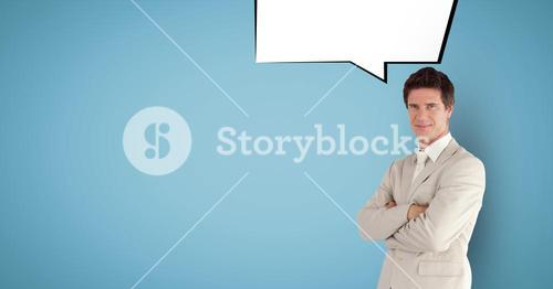 Digitally generated image of businessman with speech bubble against blue background
