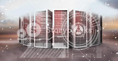 Digitally generated image of icons and servers in sky