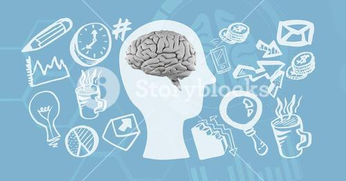 Digitally generated image of various icons surrounding brain