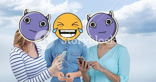 Digitally generated image of friends faces covered with emoji using smart phones against sky