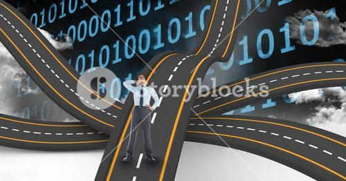 Digitally generated image of businessman on wavy road against binary numbers