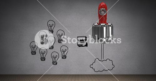 Digitally generated image of light bulbs and rocket against gray background