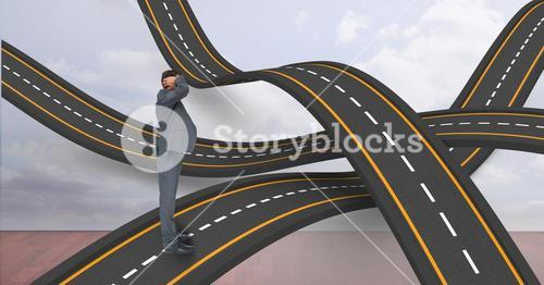 Male professional standing on wavy roads