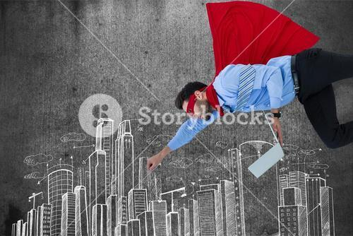 Digital composite image of businessman in super hero holding laptop while flying over buildings