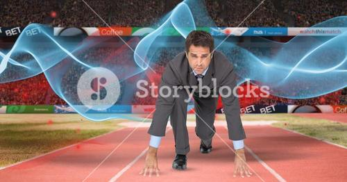 Digital composite image of businessman at starting line with wave pattern in background