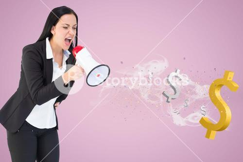 Businesswoman shouting in megaphone with dollar signs coming out