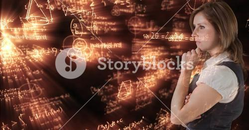 Digital composite image of thoughtful businesswoman with math equations