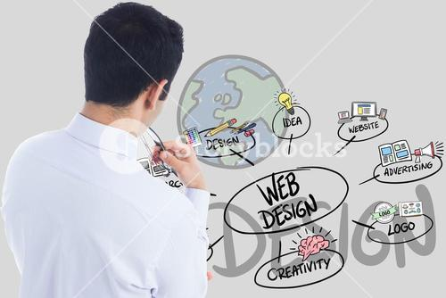 Digital composite image of businessman with web design icon