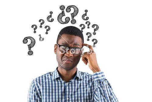 Digital composite image of confused businessman with question marks