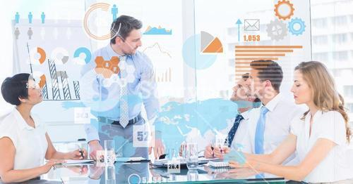 Digital composite image of futuristic screen over business people in meeting