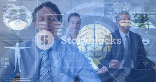 Double exposure of brains and business people meditating