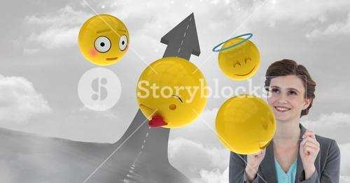 Digital composite image of business woman with transparent screen and emojis by arrow