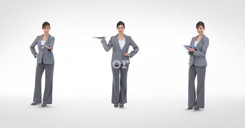 Multiple image of businesswoman holding digital tablet in various poses