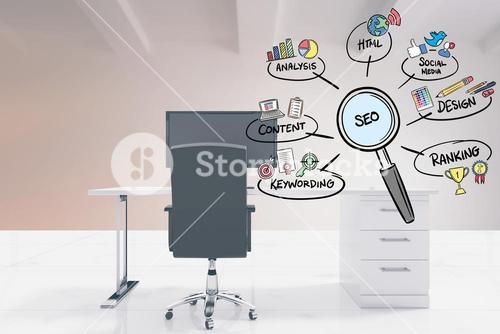 SEO sign in magnifying lens with various text and icons in office