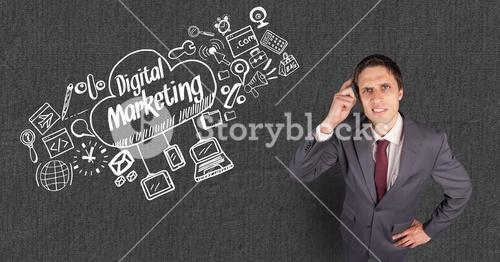 Confused businessman with digital marketing text in cloud by signs