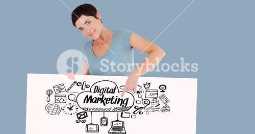 Woman pointing at digital marketing text and signs on bill board